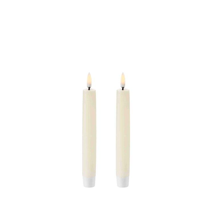UYUNI Lighting LED Stabkerzen Taper 2er Set 2,3 x 15 cm ivory - Pic 1