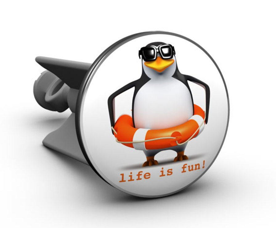 Plopp Waschbeckenstöpsel Pinguin life is fun! - Pic 1