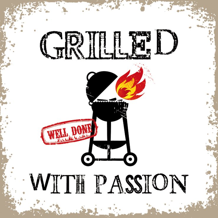 PPD Papierservietten Grilled with Passion weiß 33 x 33cm - Pic 1