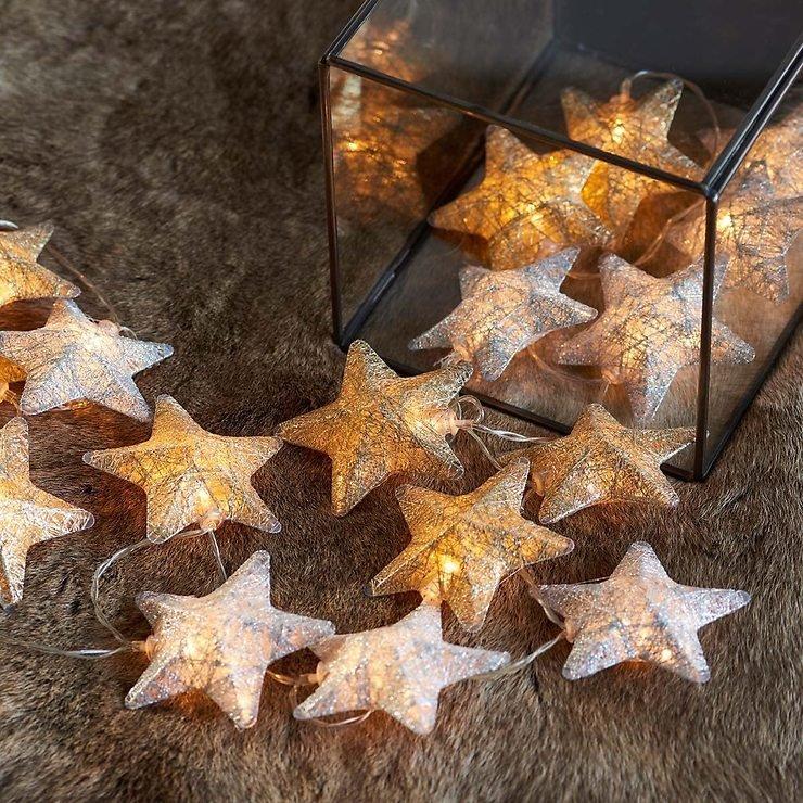 Sirius Lichterkette Bolette Star 20 LED 2,85 m Baumwollsterne gold silber - Pic 1