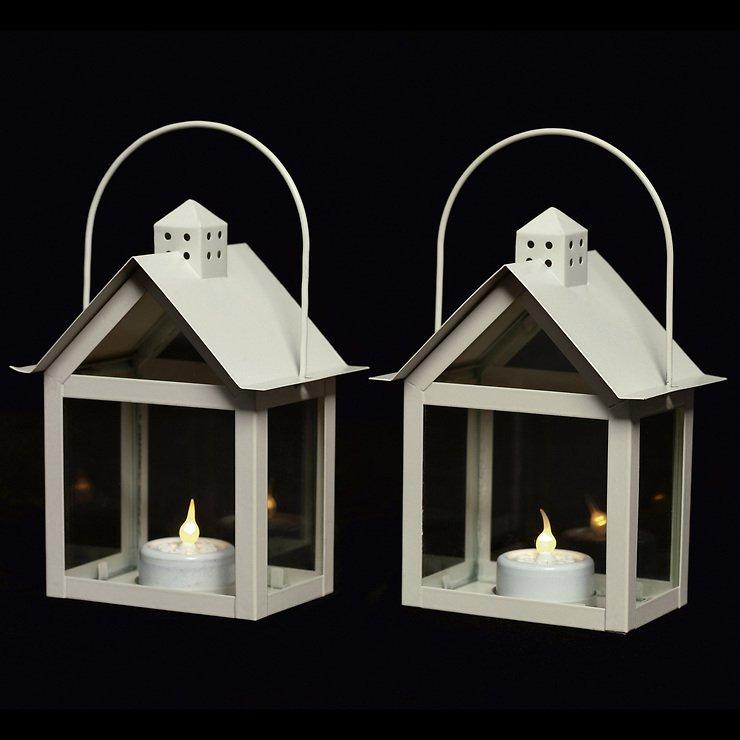 Sirius Laterne Aura 2er Set inkl. LED Kerze 15 cm innen Metall creme - Pic 1