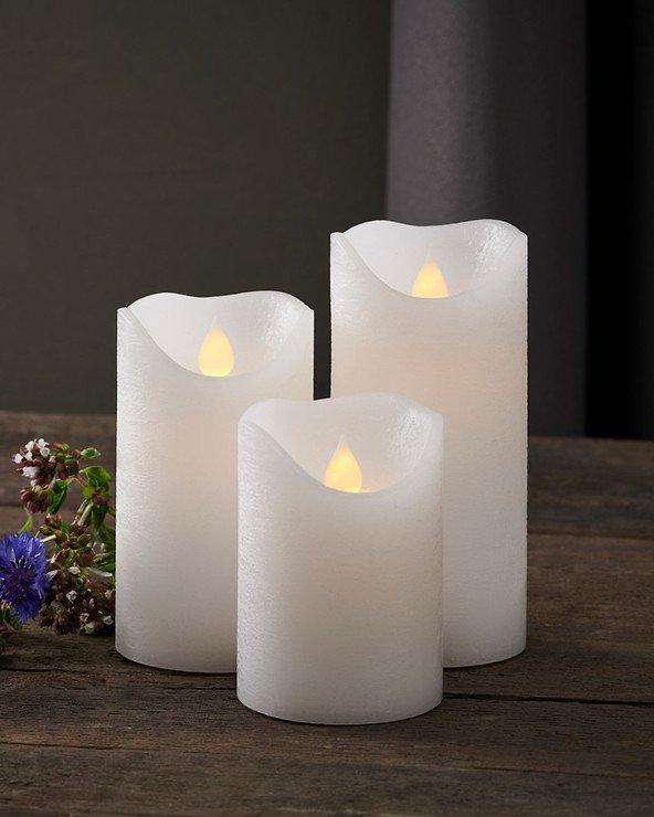 Sirius LED Kerze Saga 3er Set Echtwachs rustik weiß - Pic 1