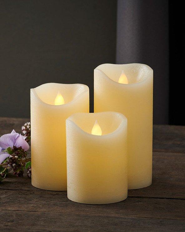 Sirius LED Kerze Saga 3er Set Echwachs rustik almond - Pic 1