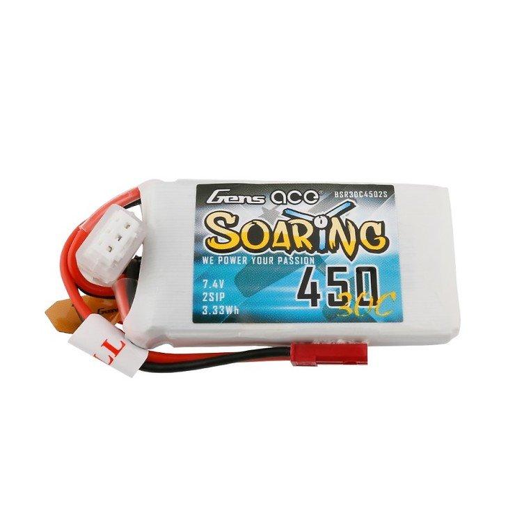 Gens ace Soaring 450mAh 7.4V 30C 2S LiPo Akku JST-SYP - Pic 1
