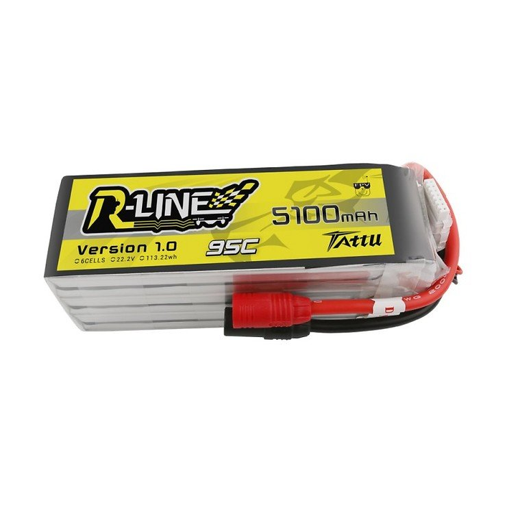 Tattu Tattu R-Line 22.2V 5100mah 6S 95C FPV Lipo Battery AS150 Plug - Pic 1
